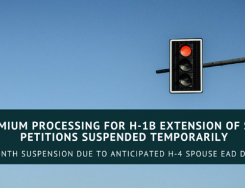 USCIS Temporarily Suspends Premium Processing of H-1B Extension of Stay Petitions