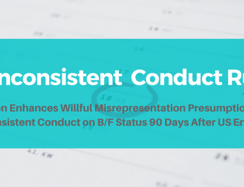 "Nonimmigrant Status 30/60 Day Rule Amended to Impose Stricter Requirements for ""Inconsistent Conduct"""