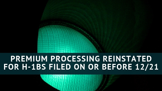 Premium Processing Reinstated for H-1B Petitions Filed On or Before